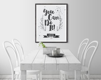 Coffee Typography Quote Poster Print, Home Decor, Office Decor, Kitchen Decor. Inspirational Poster Print