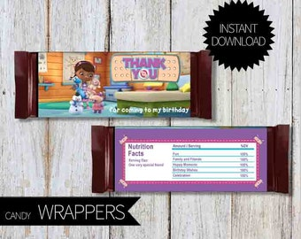 Doc McStuffins Birthday Party PRINTABLE Candy Wrappers- Instant Download   Disney Junior   Doctor McStuffins  Chocolate Wrapper