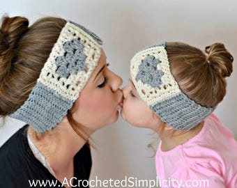 Crochet Pattern: Granny Heart Headwarmer Earwarmer **Permission to Sell Finished Items INSTANT DOWNLOAD