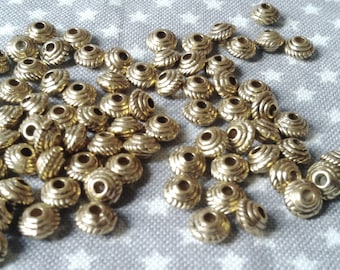 Set of 50 metal beads, gold, antique, 5 x 3 MM find 1.5 MM.