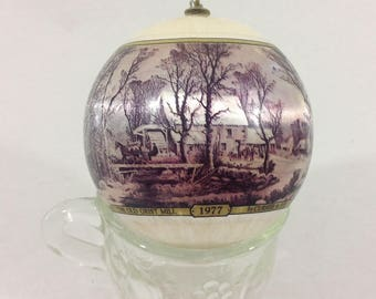 Vintage Currier and Ives The Grist Mill Satin Ball Christmas Tree Ornament Homestead Series 1977