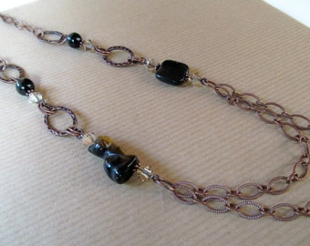 Blue Tigers Eye Kitty Cat and Swarovski Crystal Antiqued Brass Chain Necklace - Long 34 inches
