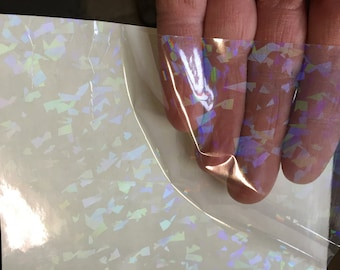 Transparent Holographic Crystal Overlay,  Adhesive Coated HoloCrystal, Free Shipping for USA
