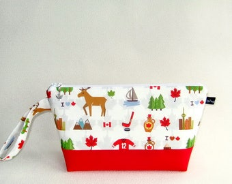 Wedge Bag, Small-Project Knitting Bag, Canada Love