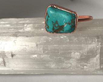 Turquoise and copper electroformed ring, size 8