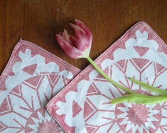Vintage Swedish Screenprints: Pair of Pinks
