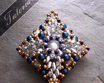 Diamond Shaped Pendant Bead Pattern, Super Duo and Rivoli Bead Weaving Tutorial, Romanov,  Step by Step with Detailed Diagrams