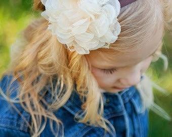 Brown & Cream Headband  - Fall Flower Girl Newborn Baby Infant Toddler - Wedding Lace Chiffon Flower