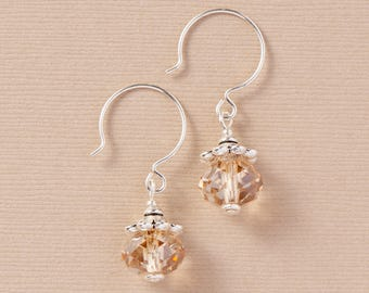 Drop Earrings with Swarovski® Crystals-Golden Shadow-Handmade Swarovski® Earrings-Simple Drop Earrings