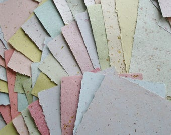 10 Mixed Sheets, A4 Hand Made Recycled Paper, Paper for Craft, Journaling, Printing, Collage, Card Making, Art, Homemade Paper, Deckle Edge