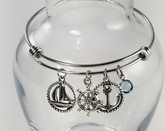 Sailing Themed Bracelet, Nautical Charm Bracelet, Nautical Jewelry, Sailboat Bracelet, Sailing Jewelry, Birthstone Jewelry, Gift for Her