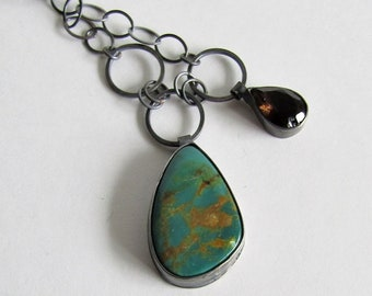 Turquoise and Smoky Quartz Necklace - December Birthstone - Chinese Turquoise Necklace