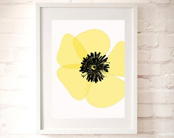 Yellow Poppy flower - fine art print, summer flower, poppy art, illustration, california poppy, yellow poppy flower