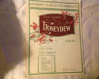 """Antique 1920  Sheet Music """"Oh How I Long for Someone"""" by Efrem Zimbalist"""