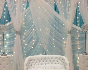 "Free Shipping in USA. Sheer Voile fabric is a 118"" wide width for curtains and event decorations., color white"