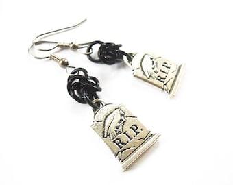 Tombstone earrings, Silver gravestone jewelry, Grave earrings, Gothic earrings, Black and silver RIP earrings, Raven earrings