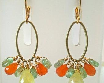 Prehnite, Apatite and Carnelian drop earrings