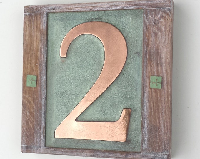 """Eco friendly House  number in Copper with oak frame 1 x no. 6""""/150mm high in Garamond g"""