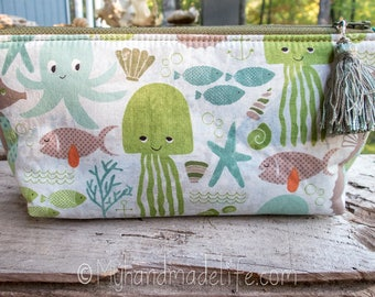 Under the Sea Fabric Pencil Pouch | Cute Ocean Life Fabric | Lined Cosmetic Bag | Cute Pencil Pouch | Small Gift Under 15 | Art Pencil Bag