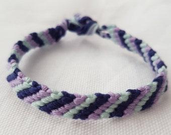 Choose your colours - 3 colour diagonally striped friendship bracelet (Narrow style)