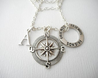 Compass, Friends- Initial Necklace/ Gift for best friend, Birthday Gift, Bff gift, bff jewelry, Gift for bff, Personalized Friend, jewelry