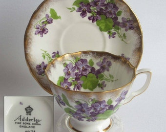 Free Shipping Royal Adderley/Adderley Un Named VIOLETS - Bone China Tea Cup and Saucer - Made in England