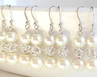 Set of 5 Bridesmaid earrings pearl earrings wedding gift bridal jewelry wedding jewelry set bridesmaid pearl earringsrhinestone set of five