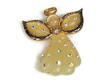 Vintage KC Resin AB Rhinestone Moon Stone Cats Eye Halo Angel Pin Brooch