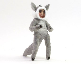 Spun Cotton Vintage Style Wolf Child Figure/Ornament (MADE TO ORDER)