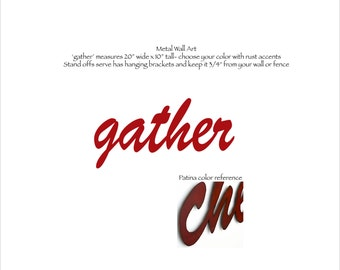 """gather metal wall art - 20"""" wide - choose your color with rust accents patina steel sign - gather wall art - kitchen art wall art metal"""