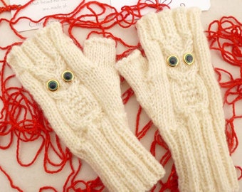 Knitted Mittens, Owl Fingerless Mittens, Wool Knit Gloves, Wrist Warmers, Christmas Gift for Teens Daughter Gift Winter Gloves Accessories