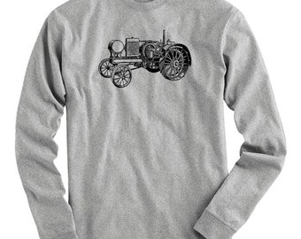 Tractor V2 Tee - Long Sleeve T-shirt - Men S M L XL 2x 3x 4x - Farming Shirt, Farm Shirt, Farm Equipment, Farmer Gift, Farming Art