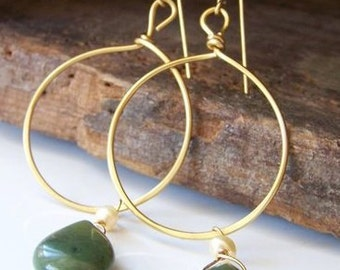 Gold Hoop Earrings with Jade: Hammered Hoop Earrings with Green Jade and Freshwater Pearls, Etsy, Etsy Jewelry