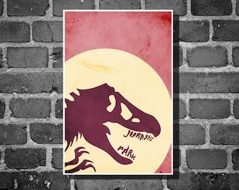 Jurassic Park print movie poster minimalist poster geekery art print sci fi print
