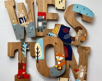 Wooden Letters for Nursery, Camping Nursery Decor, Lumberjack Nursery, Little Campers Set, Hand Painted Wood Letters, Woodland Creatures