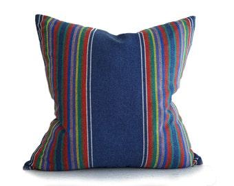 Southwestern Pillow, Blue Pillows, Striped Cushions, Striped Pillows, Toss Pillows, Boho Pillow Cover, Denim, Zipper, Mexican Pillows, 20x20