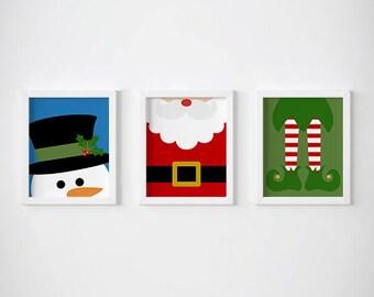 Christmas Wall Art - Snowman, Santa and Elf - Instant Download Digital Print