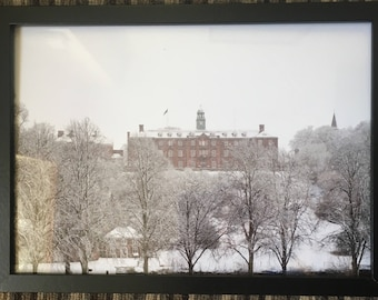 A4 Framed Professional Print of Shrewsbury School in the snow of December 2017