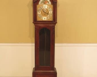 F26116EC: HERSCHEDE Mahogany Grandfather Clock As - Is