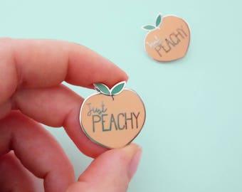 JUST PEACHY enamel pin | Lapel pin | pin badge | HARD enamel pin | Cute kawaii | bright pastel |peaches and cream | Stocking Fillers