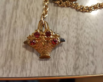 Vintage gold tone watch chain with flower basket pendant