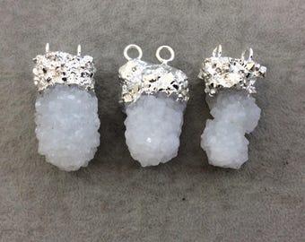 Medium Silver Electroplated Natural Druzy White Spirit/Cactus Quartz Vertical Cluster Pendant - Measuring 35-45mm Wide - INDIVIDUAL, RANDOM