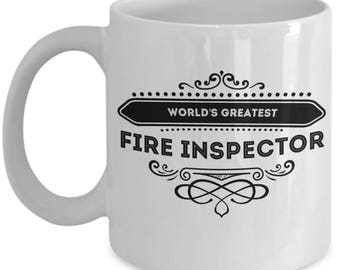 Fire Inspectors Coffee Mug / World's Greatest Fire Inspector Gift Cute Ceramic Tea Cup Novelty Gifts