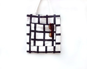 Large tote bag with pockets, Sac, Teacher tote bag, Black and white cotton bag, Shoulder bag, Man tote bag, Market bag, Shopping bag
