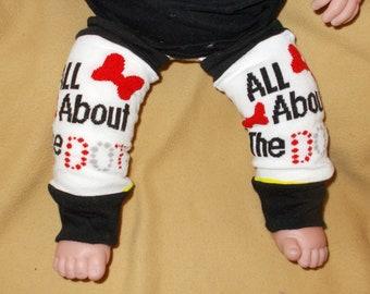 Leg warmer, Infant- Black and White Cartoon on white with red dots clothing  infant leg warmer, leg warmer, girl leg warmer, baby leg warmer