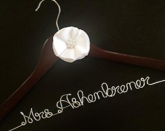 Wedding dress hanger with flower, mrs. hanger, bridal shower gift
