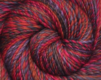 Handspun yarn - Hand painted Corriedale wool, worsted weight, 220 yards - Easy Charm