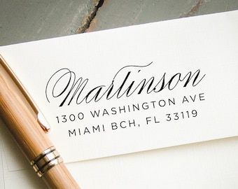 Self Inking Return Address, Custom Address Stamp, Custom Rubber Stamp, Personalized Address Stamp, Wedding Stamp, Hand Calligraphy Look