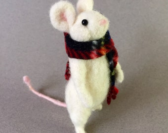 needle felted mouse in a tartan scarf, Christmas animal, wool felt rat, woodland creature, daughter gift, granddaughter soft sculpture,