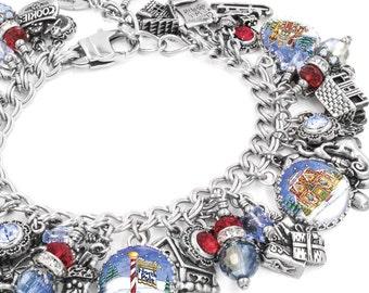 Silver Christmas Bracelet - North Pole - Winter Jewelry - Snowflake Jewelry - Winter Charms